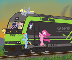 Mane 6 equestria railroad trevel. by orang111