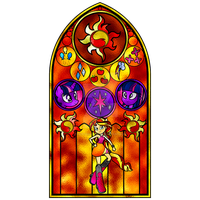 Sunset Shimmer Stained Glass Window by Earthstar01