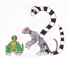 Flex, Ax and Slither by RedWingsDragon