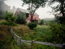 Misty Barn by Shreeb