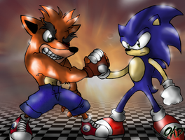 The bandicoot and the hedgehog by Oad-art