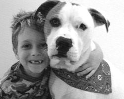 A boy and his dog by starchy78