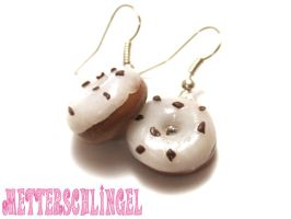 White Icing Donut Earrings by Metterschlingel