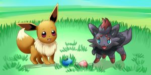 .:Collab:. Eevee and Zorua by pandapia
