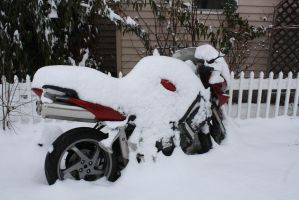 Motorcycle in the Snow by RayMackenzie