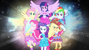 Mane Six Wallpaper [EQG] by BlackHoleII