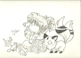 Shippo and Kirara by andrea-steph