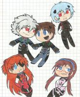 Evangelion 3.0 chibi pilots by LovelyKirbyGirly
