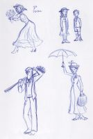Mary Poppins Sketchbook Montage by kuabci