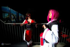 Sol Badguy and Baiken - Crossing paths by Snakethoot