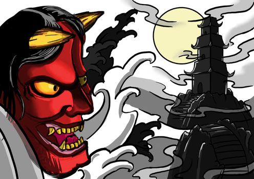 Hannya and Temple by IAmTheSorrow