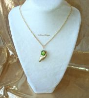Kokiri Emerald Smooth Glass Pendant Necklace Zelda by TorresDesigns