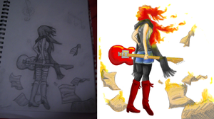 Guitar Girl- Before and After by DaniTess