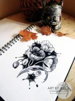 tattoo sketch, dotwork by AsikaArt