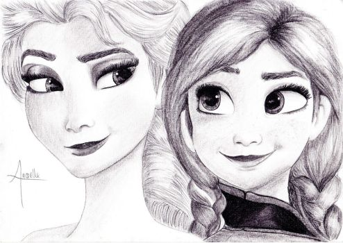 Frozen - Elsa and Anna by MidwaySky