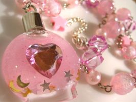 Dreams in a bottle necklace by pinkminx