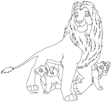 Lion with cubs lineart by Lil-Cheetah