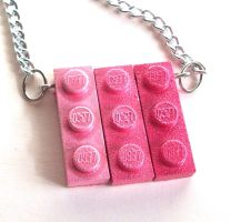 Pink Ombre Lego Necklace by annjepsen