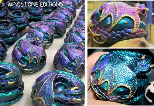 Color shifting curled dragons by Reptangle