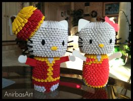3D Origami: Dear Daniel and Hello Kitty by sabrinayen