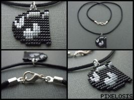 Handmade Seed Bead Bullet Bill Necklace by Pixelosis
