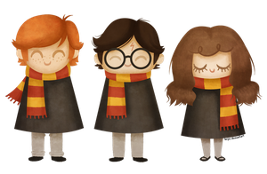 Ron, Harry and Hermione by beyx