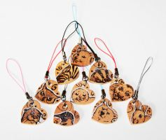 Mini Pyrography Animal Charms 2 by BumbleBeeFairy