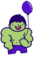 The Hulk and his ballon by saladsalty