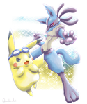 Lucario and Pikachu by Quadrackss