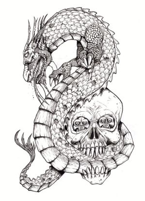 Another cool abstract dragon tattoo design.