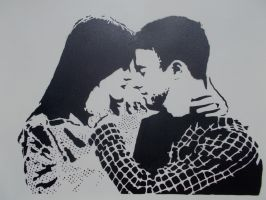 I did this stencil as a wedding gift for a friend by zertzes
