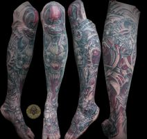 clown skulls stuff biomech leg foot done by 2Face-Tattoo