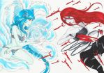 (Custom) Water spi Ahri VS Blood spi Katarina by DATimya