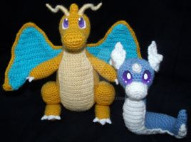 Dratini and Dragonite Amigurumi by LilDezzi