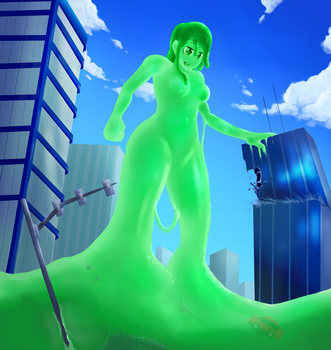Attack of the Fairly Tall Slime Lady by ThunderAfterDark
