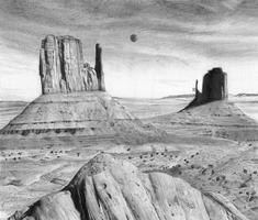 Monument Valley Pencil Study by ArcheKruz