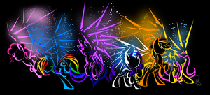 Mane6 Cyberponies by DraconicSonic
