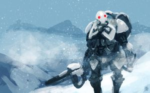 Sad Robot in Snow by Jeffufu