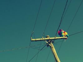 Balloons and Powerlines by BirdsAndTea