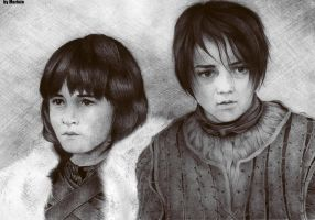 Arya and Bran by Marinio