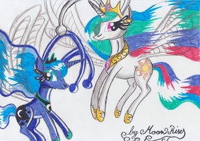 My Little Pony Celestia and Luna breezies by MoonRises