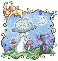 kitties and shrooms by Flos-Abysmi