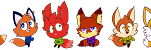 Six Same Foxes by Cookie-and-her-foxes