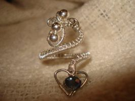 Adjustable Silver Heart Ring by Toowired