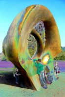 Children Absorbed By Giant Bronze Scissor Handles by aegiandyad
