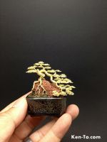 Gold root-over-rock wire bonsai tree by Ken To by KenToArt