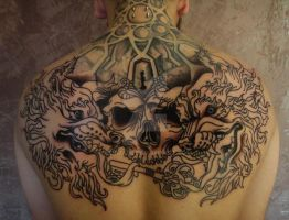 Tattoo - Skull and Wolves by Xenija88