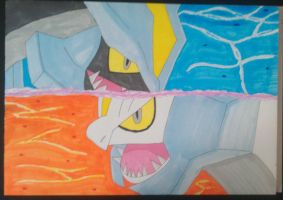 Black Kyurem and White Kyurem by ShadowGiratina11