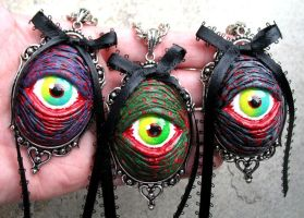 New Zombie Eye Pendants by Horribell