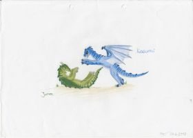 Juron and Kasumi playing by Leopardenschweif